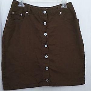 Faded Glory green linen skirt 12